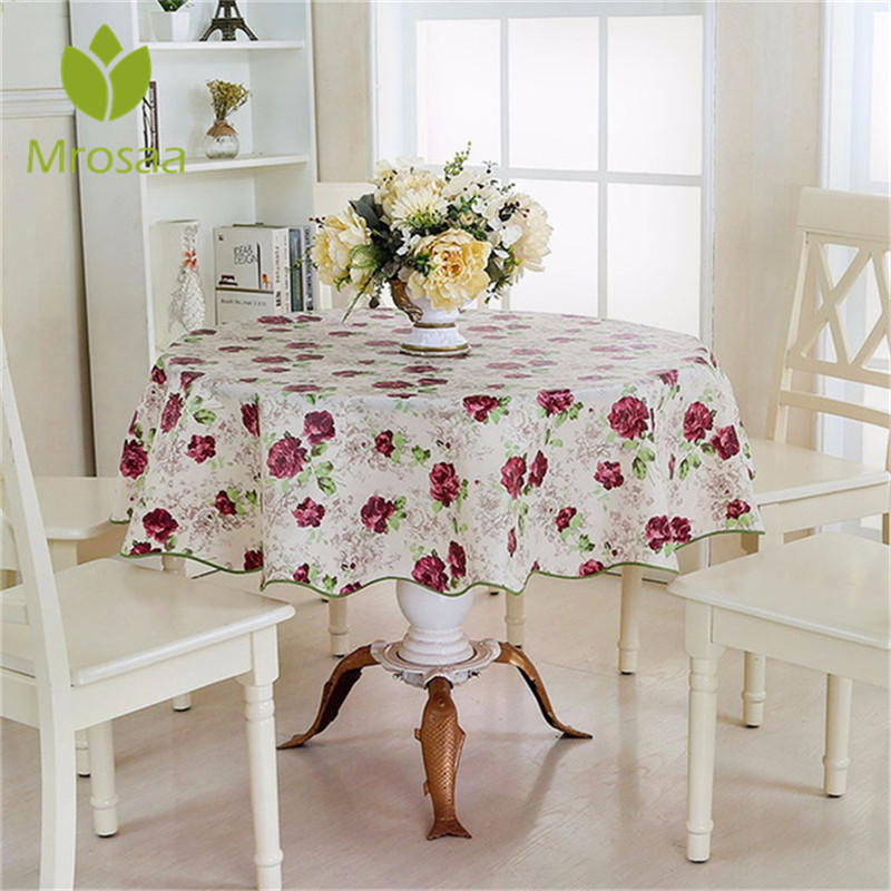 Home Decor 152cm Pastoral Floaral Round Picnic Water Resistant Oil-proof Tablecloth Household Table Cover Table Cloth