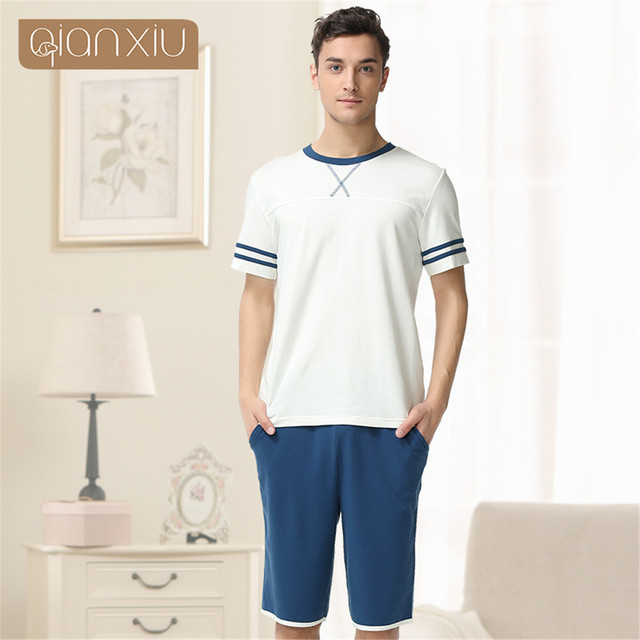 qianxiu 2017 new casual Pajamas Modal&Cotton Men Sleepwear short sleeve Round collar Lovers Pajamas Set lounge to wear models