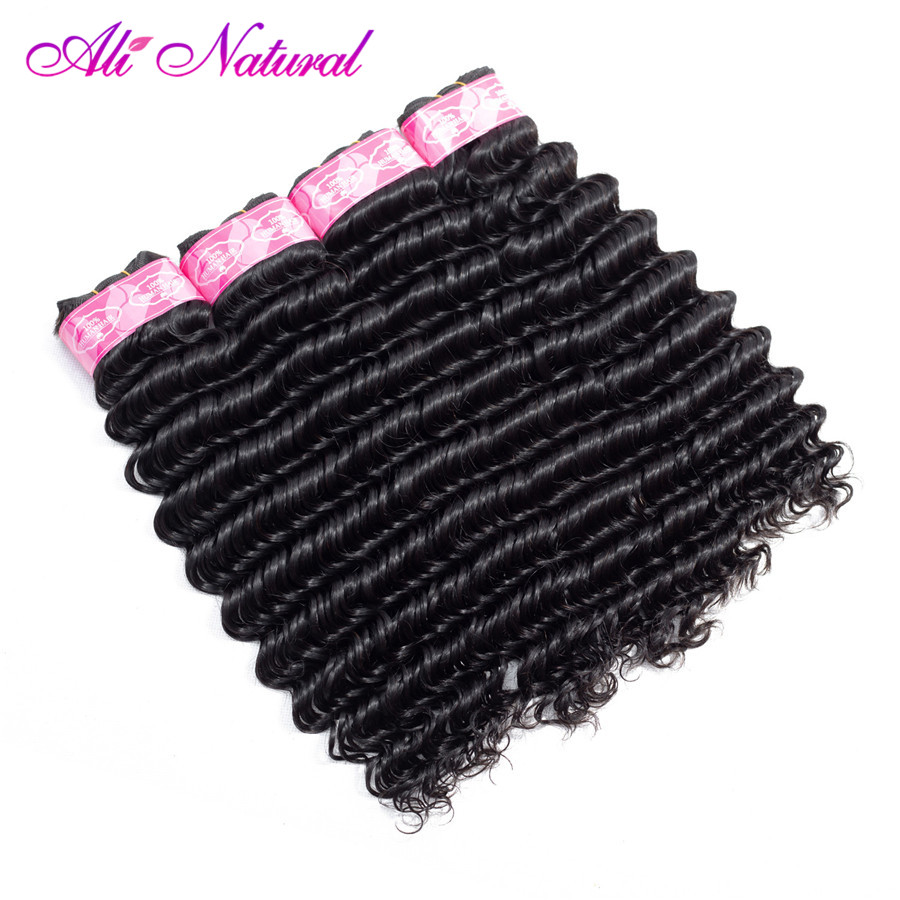 Ali Natural Products Malaysian Deep Wave 4 Bundles 100% Non Remy Human Hair Waves Natural Color 4 Bundle Deals 10-26 inch