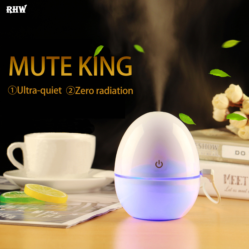 Creative Portable Mini USB Humidifier, 200ML Cute Egg Bottle Maker Steam Diffuser with Night Light for Car Home And Office