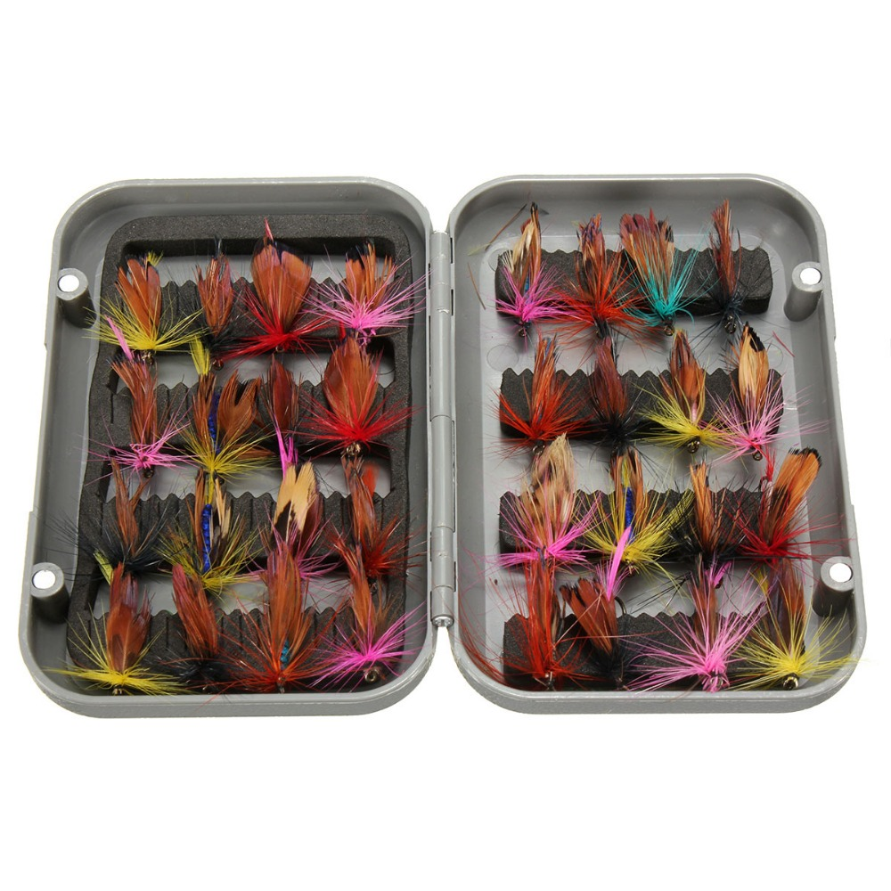 New 32pcs/sets fly fishing lure set Artificial Insect bait trout fly fishing hooks tackle with case box portable 2 layers many compartments visible pvc fishing lure bait hooks fish tackle box accessory storage box case fishing tool