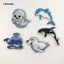 Little sea lion Dolphins and whales Lovely marine animals  Iron On Patch Embroidered Applique Sewing Clothes Stickers