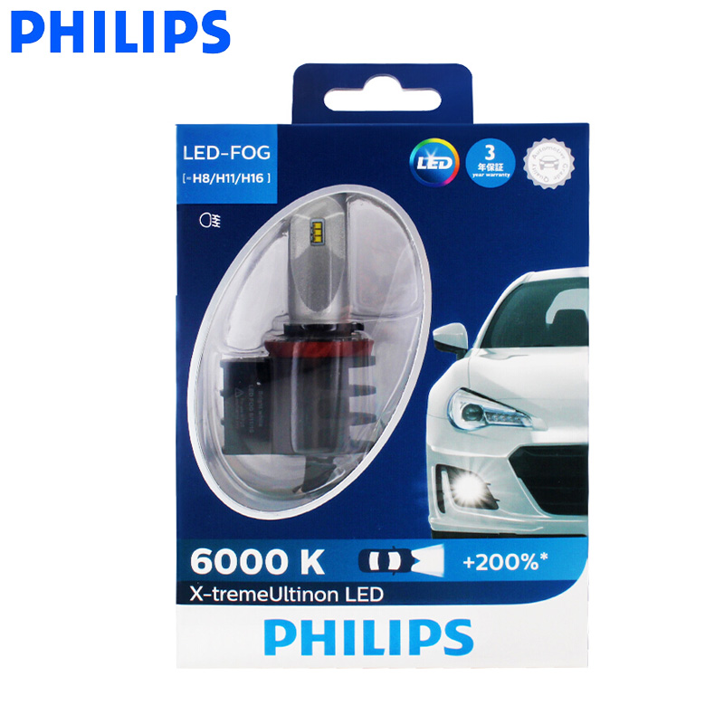 Philips LED H8 H11 H16 X-treme Ultinon LED Fog Light Auto Lamps 6000K Cool  White +200% Brighter AirFlux 12834UNI X2, Pair