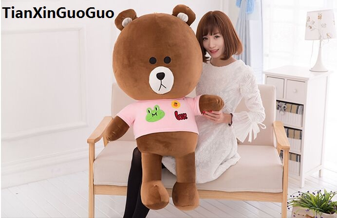 stuffed toy brown teddy bear large 100cm brown bear plush toy soft doll hugging pillow birthday gift h2997 стоимость
