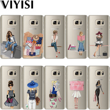 VIYISI For Samsung Galaxy S8 S9 Plus Phone Case Paris girl Cover J7 J5 J3 A5 A3 2015 2016 2017 S6 S7 Edge Summer Coque Shell все цены