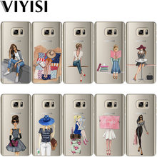 VIYISI Voor Samsung Galaxy S8 S9 Plus Telefoon Case Parijs meisje Cover J7 J5 J3 A5 A3 2015 2016 2017 s6 S7 Rand Zomer Coque Shell(China)