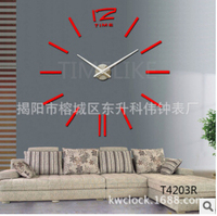 Diy wall clock big measurement mute watch movement three-dimensional wall stickers decoration clock