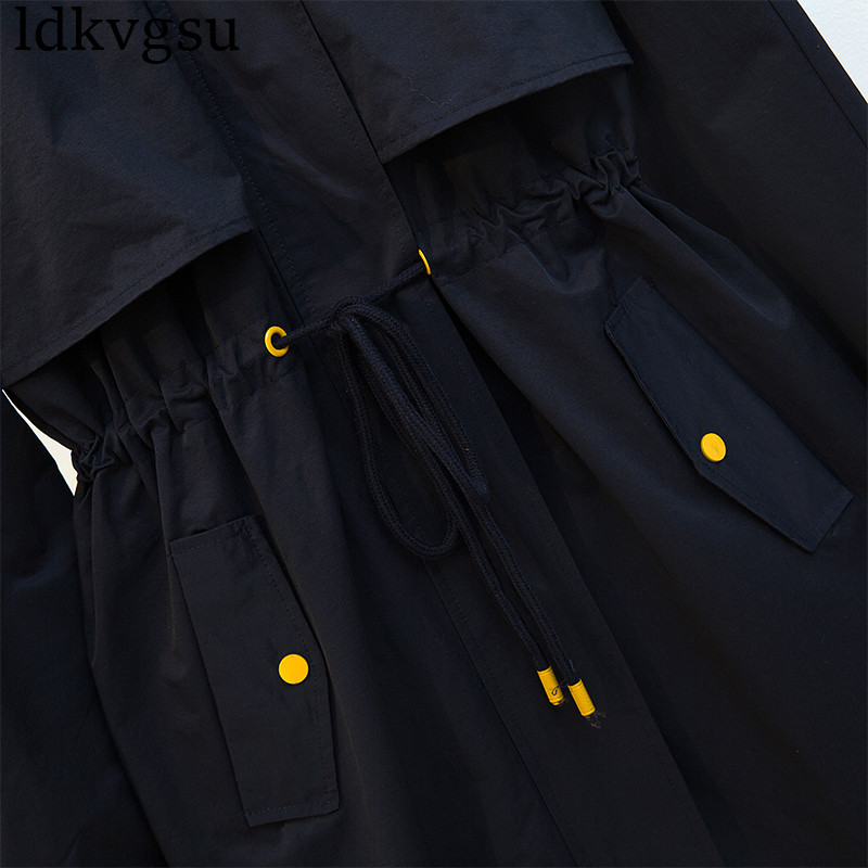패션 2019 가을 겨울 긴 트렌치 코트 큰 사이즈 여성 해군 오버 코트 긴 윈드 브레이커 루스 캐주얼 후드 코트 v135-에서트렌치부터 여성 의류 의  그룹 3