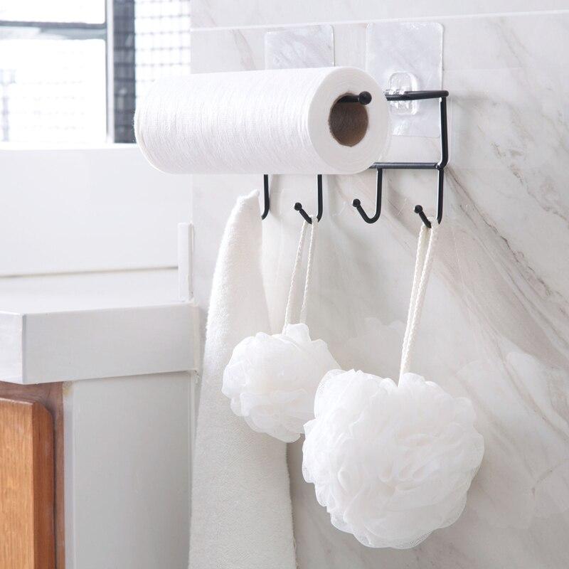 Kitchen Paper Roll Hanger Cabinet Towel Holder Tissue Organizer Rack for Kitchen Bathroom Dish Cloth Storage Hook Toilet Sticky