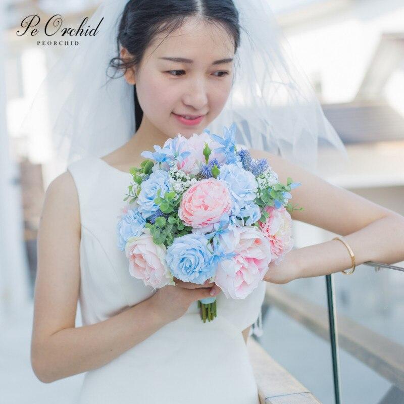 Bouquet Rose Sposa.Peorchid Soft Pink Blue Flower Bridal Bouquet Roses Artificial