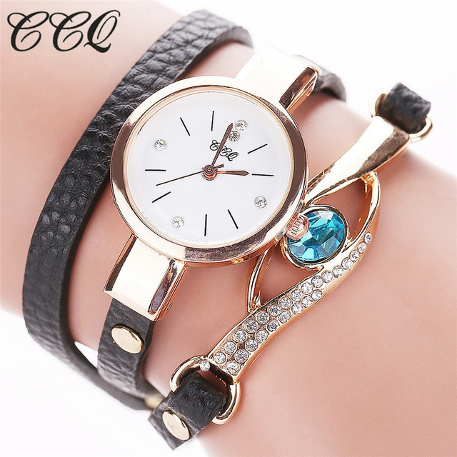 CCQ Brand Women Luxury Gold Eye Gemstone Dress Watches Casual Women Gold Bracelet Watch Female Leather Quartz Wristwatches Gift