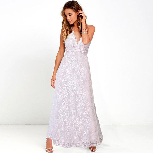 2016 Autumn Hot Sale Women Dress Plus Size Lace Strap Vestido De Festa V-Neck Backless Sexy Fashion Sleeveless Long Dress S-3XL