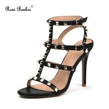 ФОТО roni bouker women new fashion straps buckle summer shoes lady leather handmade gladiator sandals plus size 42 wedding high heels