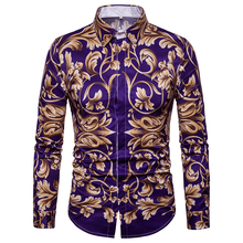 Gold Foral Print Shirt Men 2019 New Slim Fit Long Sleeve Camisa Masculina Black Chemise Homme Social