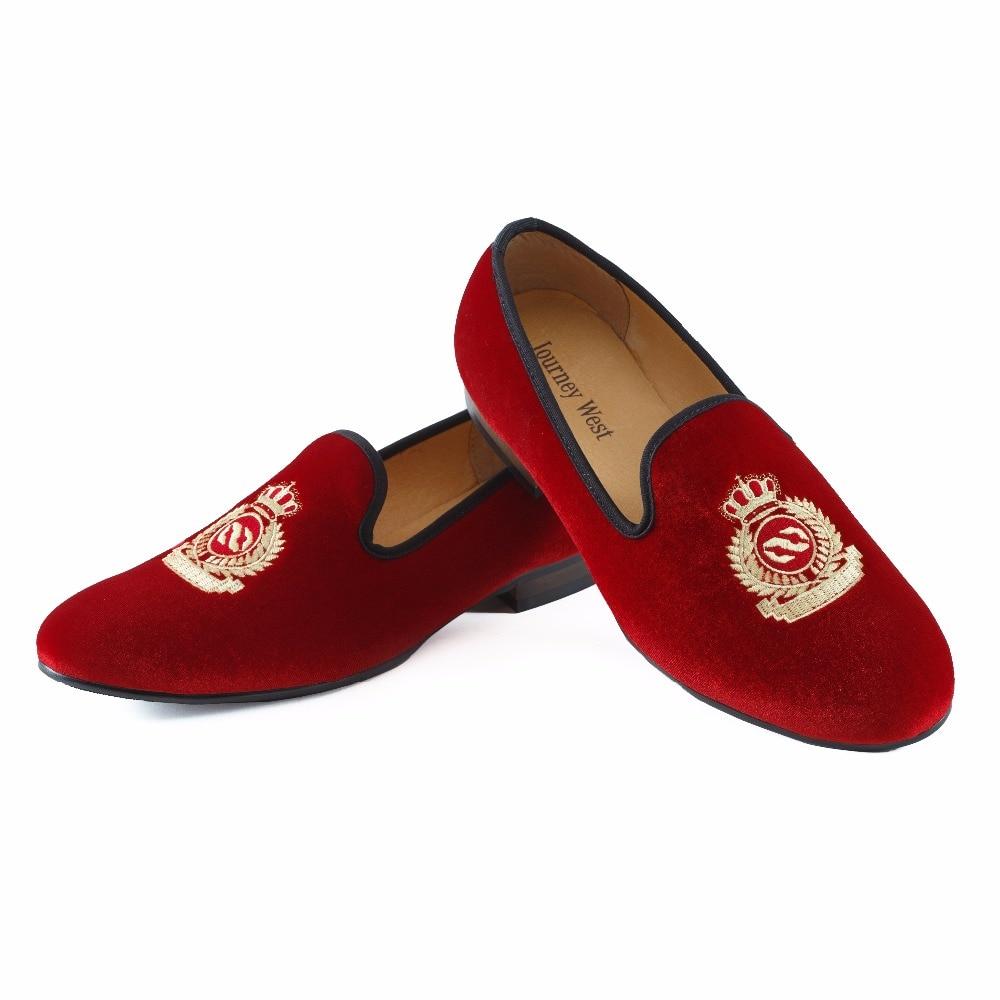 Neue handgefertigte männer rot samt faulenzer mit krone casual dress - Herrenschuhe - Foto 2