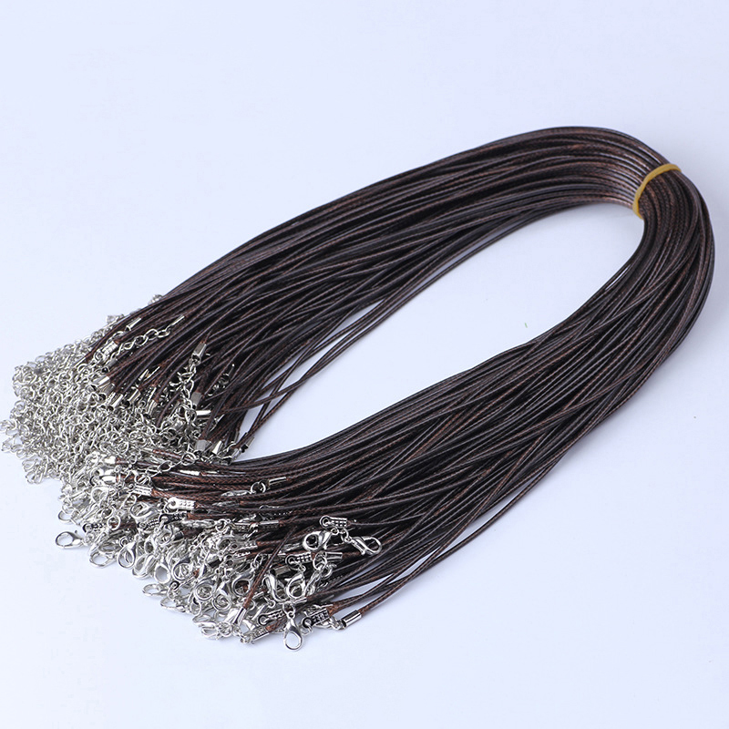 50pc Genuine Leather Cord Adjustable Braided Rope Necklaces & Pendant Findings Lobster Clasp String Strap For Necklace Bracelet 2