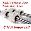 2pcs SBR10 L 500mm linear rail support with 4pcs SBR10UU linear guide auminum bearing sliding block cnc parts