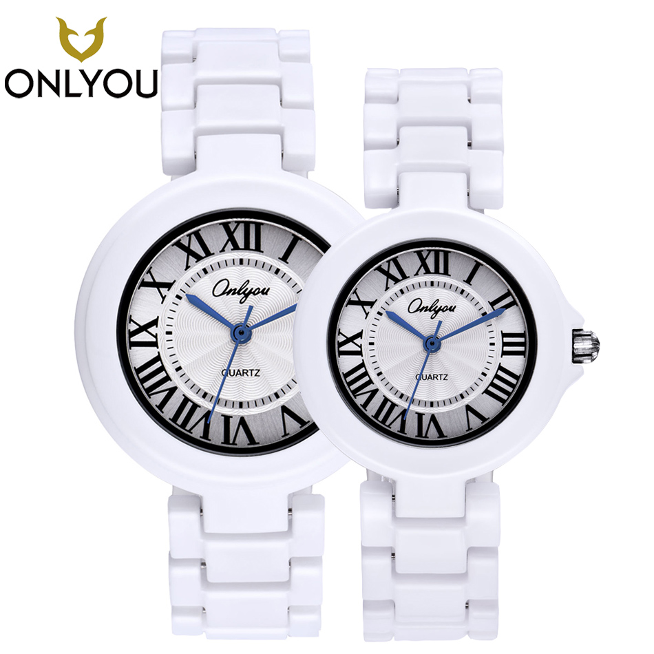 цена на ONLYOU New Lover Watches Valentine's Day Gift Couple Present Ceramic Strap Quartz Wristwatch Women Dress Watch Men Casual Clock