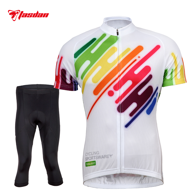 Tasdan Popular Cycling Jerseys Sets Colorful Mens Short Cycling Suits Set Discovery Cycling Jerseys Short Pants Sport Set цена и фото