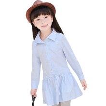 Girls Children's Shirt-dress Spring Autumn New Shirt Kids Clothing Pink Pink Blue