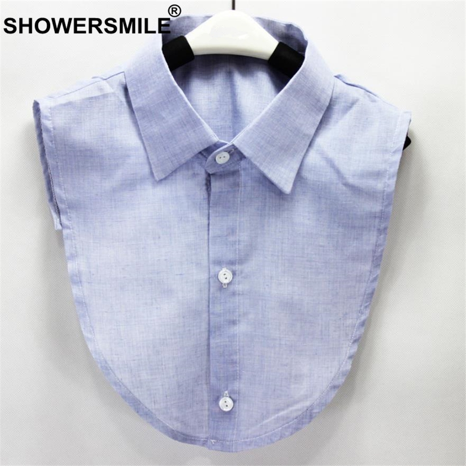 SHOWERSMILE Fake Collar Shirt Cotton Shirt Men Women Detachable Collar Male Lapel Fake False Collar Blue Clothing Accessories
