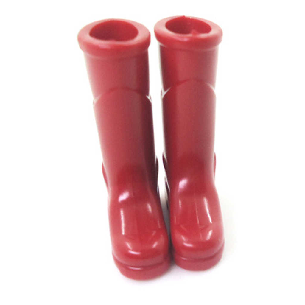1: 12th สีแดงยางฝนรองเท้าบู๊ทสไตล์ชนบท Garden Porch Dollhouse Miniature อุปกรณ์เสริมรองเท้า