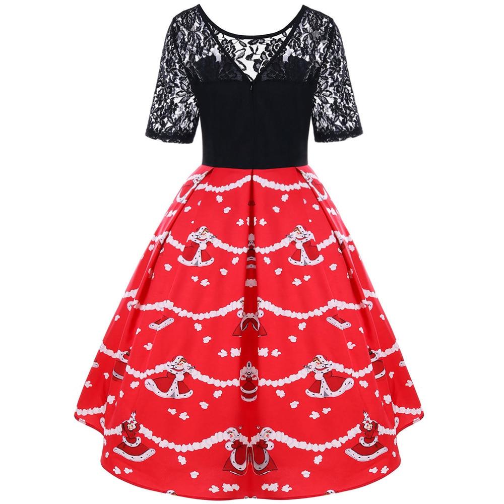 Винтажное платье трапециевидной формы, рождественское кружевное яркое кружевное платье с цветочным узором, женское Ретро накидка, женское ...