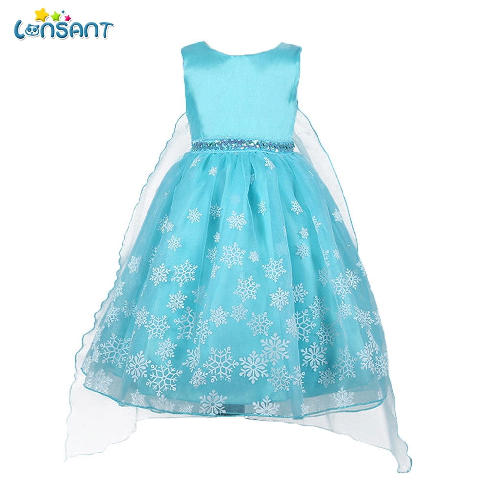 LONSANT 2018 New Hot Selling Cute Children Baby Girls Blue Tutu Princess Snowflake Print Sleeveless Clothes Dresss