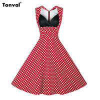 Sexy Women Polka Dot Vintage 50s Retro Casual Dress For Cocktail Party Prom Vestidos Ladies Tunic