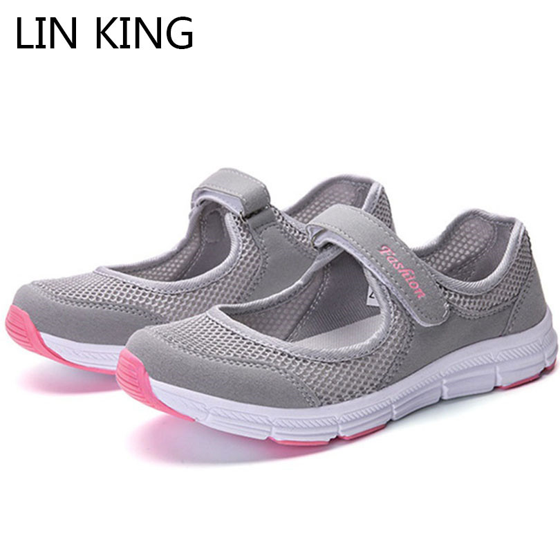 LIN KING Breathable Air Mesh Women Flats Casual Shoes Soft Sole Comfortable Low Top Loafers Comfortable Lady Outdoor Work Shoes lin king fashion pu leather women flats shoes round toe loafers comfortable slip on casual shoes solid breathable girl lazy shoe