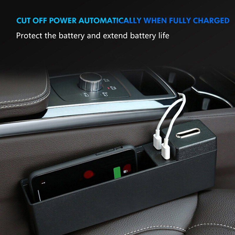 multi functional car seat gap storage box 2 usb wireless. Black Bedroom Furniture Sets. Home Design Ideas