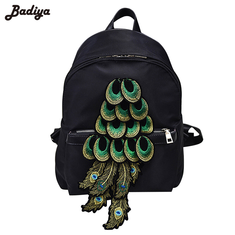 New Fashion Top Handbags Made Of Leather PU Shopping Bag Ladies Backpack Women Accessories Peacock Feather For Travel Bag