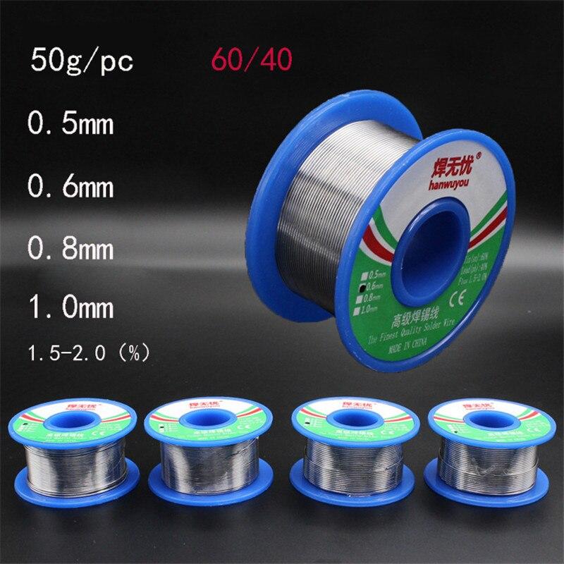 60/40 Rosin Core Tin Lead Solder Wire Soldering Welding Flux 1.5-2.0% Iron Wire Reel 50g 0.5mm 0.6mm 0.8mm 1.0mm