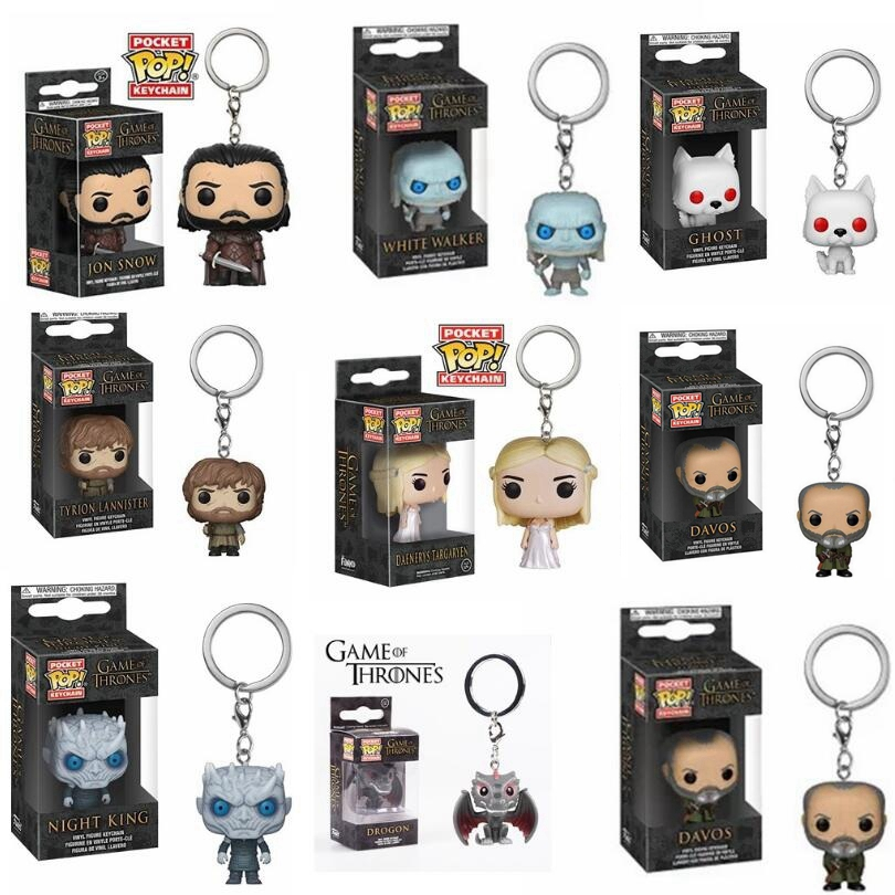 Pop Game Of Thrones White Walker Davos Jon Snow Daenerys Ghost Night King Tylion Drogon KeyChain  Figure Model Collection Toy