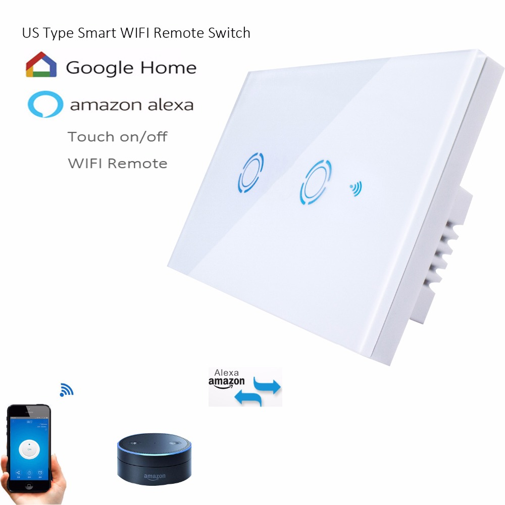 US Type 1 2 3 gang wall light app switch,touch control panel,wifi remote control via smart phone,work with Alexa/ Google Home jinvoo app us type smart wifi switch 2 gang 1 way touch panel wireless remote wifi light switch works with alexa google home