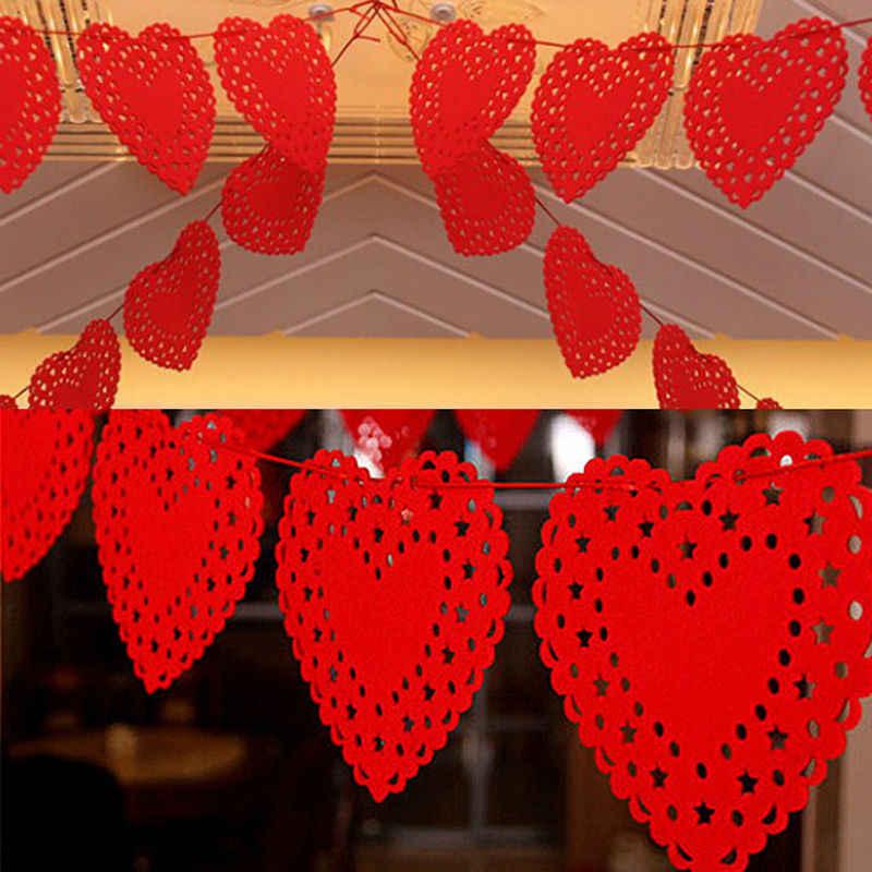 3 Meter Rot Herz Liebe Vliesstoffe Stoff Flagge Party Garland hochzeit Banner Bunting Für Hochzeit dekoration