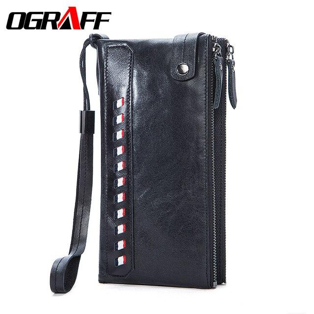OGRAFF Натуральная кожа бумажник мужчины длинный кошелек держатель карты большой емкости молнии мужчины сцепления 2017 бизнес портмоне мужское портмоне