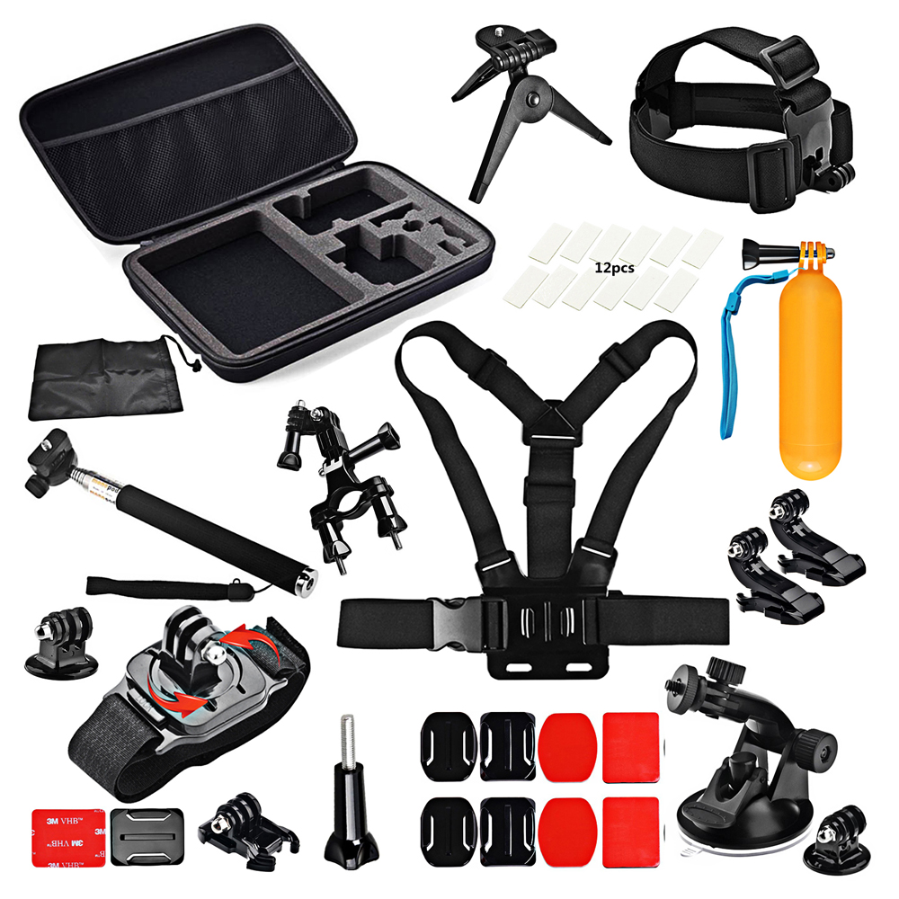 SHOOT Action Camera Traveling Accessories Set for GoPro Hero 5 4 3 SJCAM SJ4000 Xiaomi Yi 4K h9 Go Pro Strap Tripod Mount Kits tekcam for gopro accessories set gopro case bag for gopro hero3 hero 5 4 2 3 sjcam sj4000 sj5000 sj6 sj7 xiaomi yi 4k plus