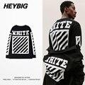 Fora do branco dos homens heybig t da longo-luva f/w skate tops 2016 nova americano de hip hop camisetas diagonais impresso clothing tamanho cn