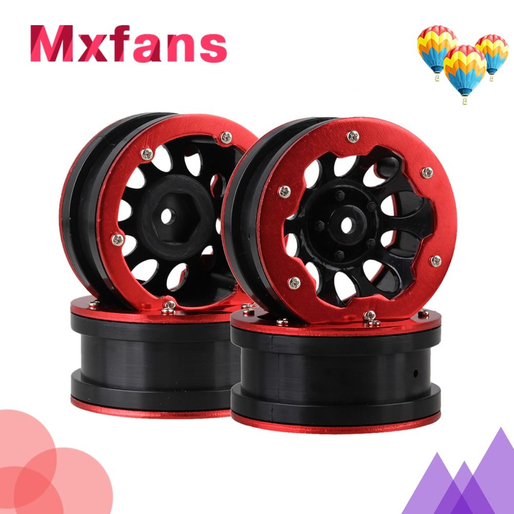 Mxfans 4 pcs RC 1:10 Rock Crawler Voiture En Plastique Noir Jante De la Roue et Rouge En Aluminium Beadlock