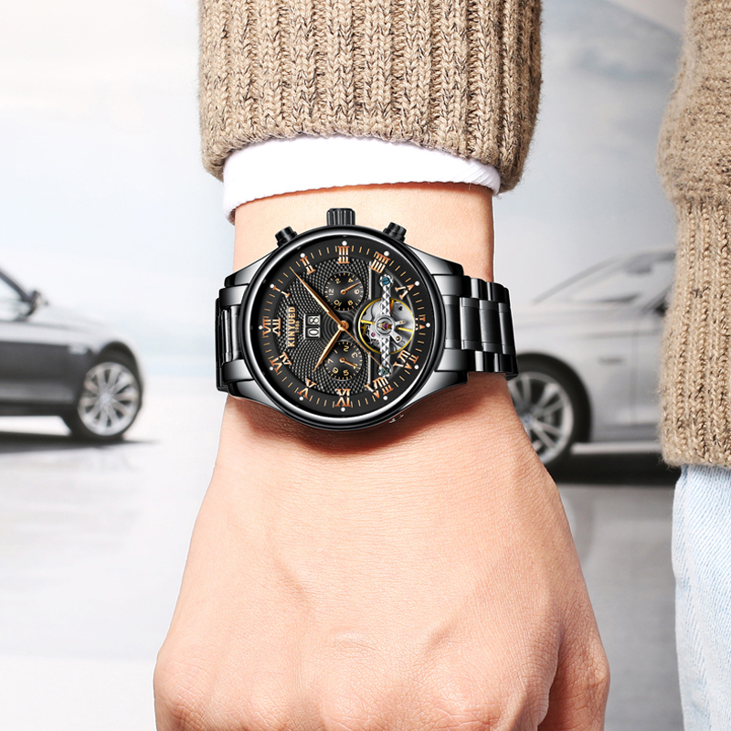 KINYUED Mechanical Stainless Steel Men Watches Automatic Black Silver Male Watch Fashion Skeleton Tourbillon Calendar Clock NewKINYUED Mechanical Stainless Steel Men Watches Automatic Black Silver Male Watch Fashion Skeleton Tourbillon Calendar Clock New