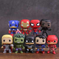 DC Marvel Super Heroes Figuras Brinquedos 9 pçs/set Capitão América Homem De Ferro Hulk Batman Superman Spiderman Thor Pantera Negra Flash