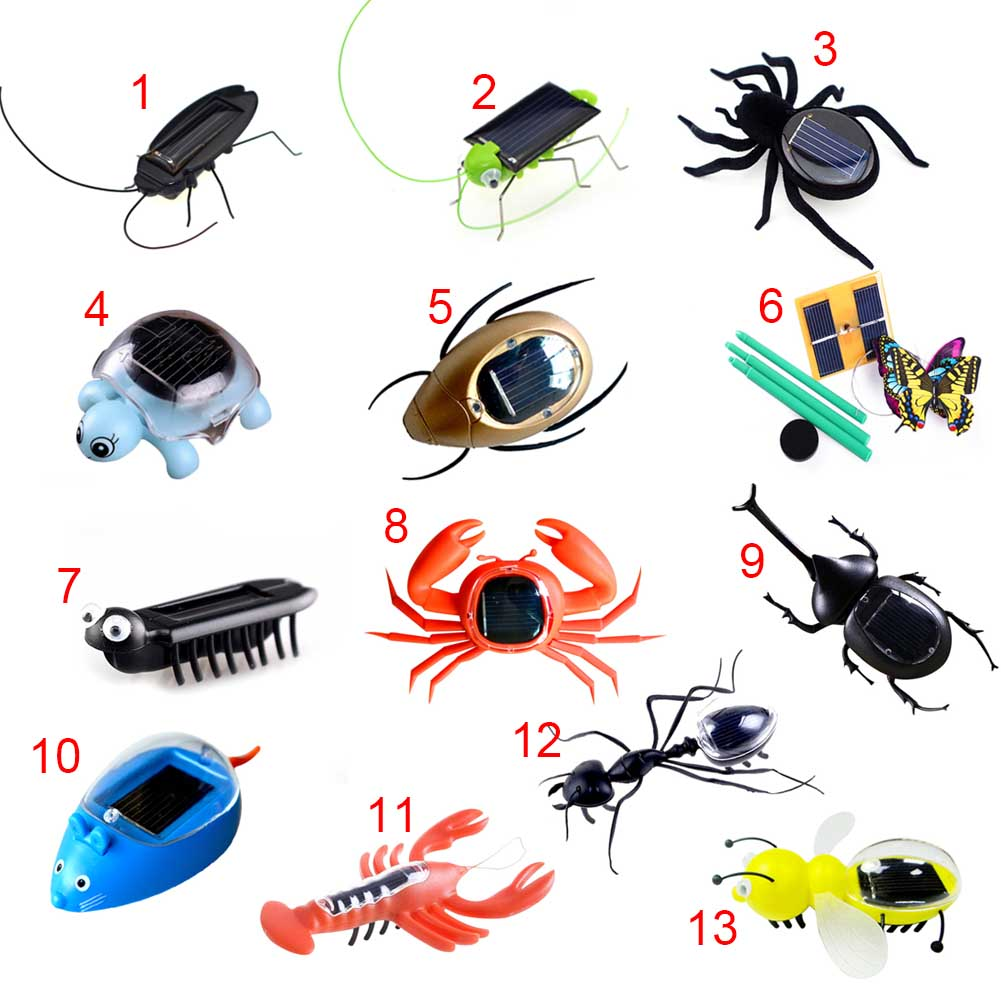 Fashion Children Toys Plastic Solar Power Ant Cockroach Spider Tortoise Crab Butterfly Insect Teaching Baby Kid Toy Gift YH-17