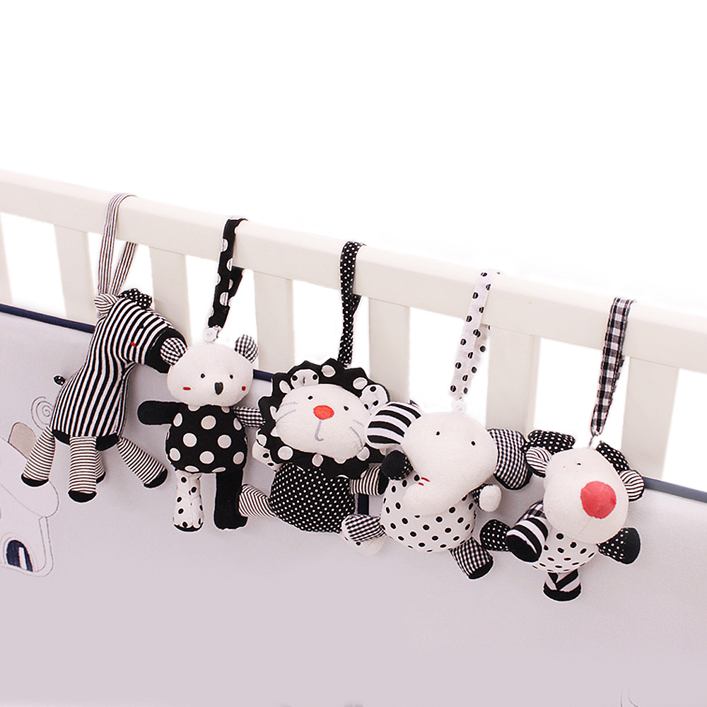 SHILOH Baby Crib Stroller Carseat Decoration built-in rattles BB squeakers 5PCS Sea Animals, White and Black sea & zooanimals shiloh 60 songs musical mobile baby crib rotating music box plush doll black and white color bee brinquedos bebes