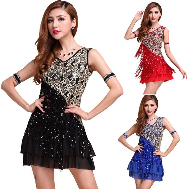 New Women Sexy Latin Dance Dress Ballroom Competition Ruffle Paillette Dance  Clothings Y46 1c2db7bf7