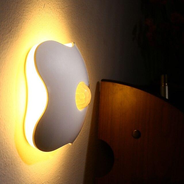 Ночник luminaria-де-меса цветочные ночные огни человеческого тела авто движение ребенок ночью свет лампы стены из светодиодов новый датчик четыре листа клевера светодиодные лампы