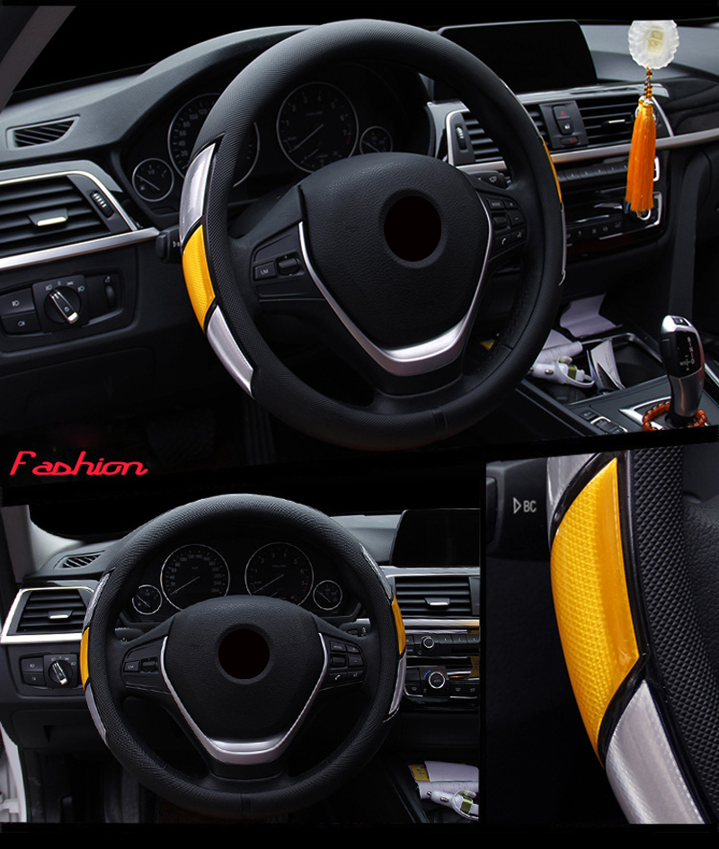 Reflective Movement Diamond Steering Wheel Cover 3 Colors Anti-slip For 38CM Car Styling Steering-wheel Car-covers Free Shipping 9