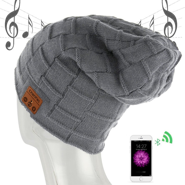 2018 New Wireless Bluetooth Headset Hat Knitted Bluetooth 4.2 Cap Headphone Warm Winter Hats Music Earphone Best Christmas Gift