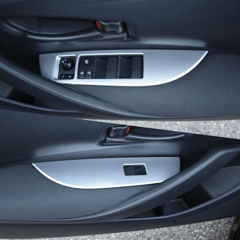 Pour Toyota Corolla Hatchback 2019 intérieur interrupteur de lève-vitre bouton de commande couvercle garniture ABS mat 4 pièces conduite à droite seulement