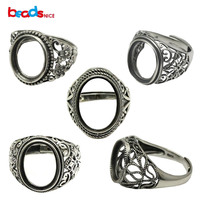 Beadsnice Thailand Silver Rings DIY Ring Setting Antique Style Filigree Ring Base for Oval Stones 925 Silver Rings ID 34080